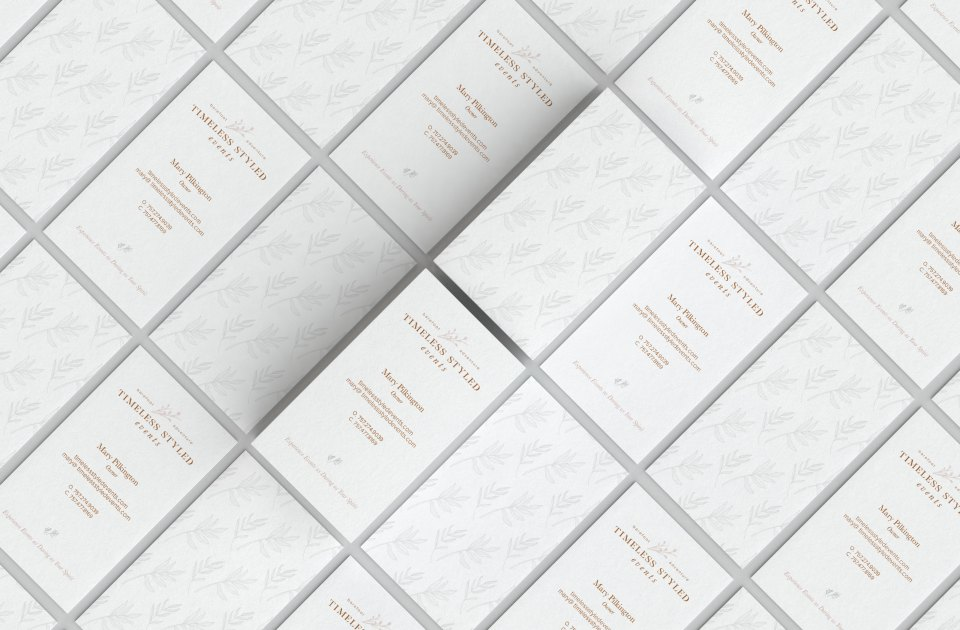 Creative Process: Timeless Styled Events Brand and Website Launch Business Card