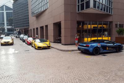 Lamborghini Gallardo, BMW M4. Singapore street scene