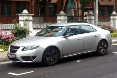 Saab 9-5. Singapore street scene