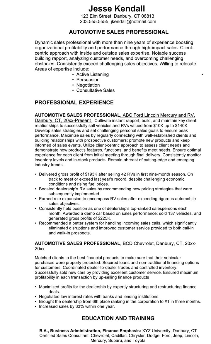 Car Salesman Resume Example 3 Car Sales Professional