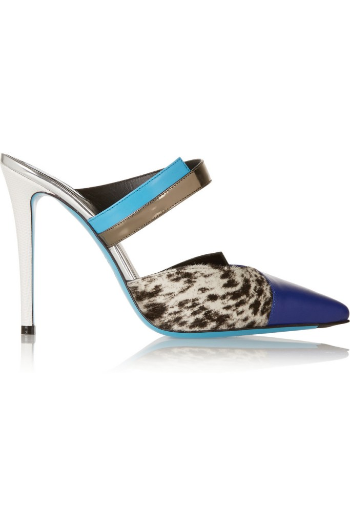 FENDI Printed calf hair and leather mules