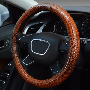 Crocodile Style Leather Steering Wheel Cover