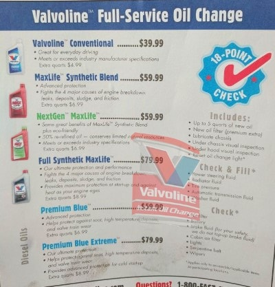 Valvoline Instant Oil Change Price List For 2020 By Type Of Oil