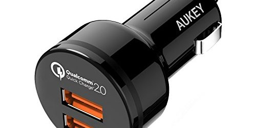 41DR 0EEEoL - Quick Charge 2.0 AUKEY Car Charger with Dual Quick Charge 2.0 Ports for Galaxy S7/S6/Edge, LG G4 & More