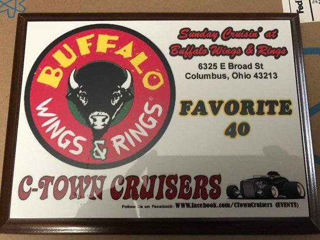 Sunday Cruisin' Buffalo Wings & Rings favorite plaque