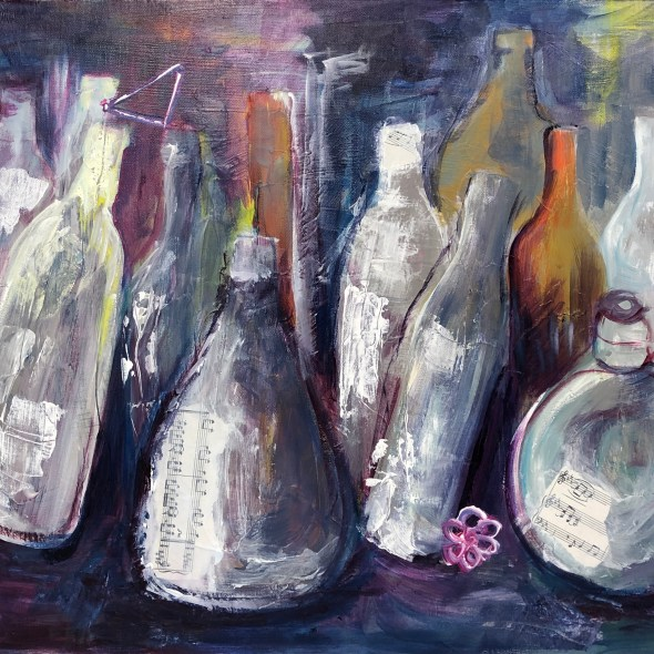 painting of abstract bottles