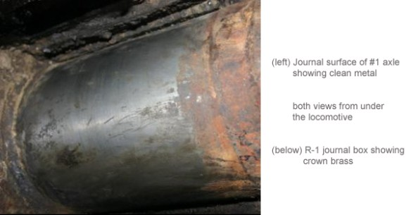 (left) Journal surface of #1 axle showing clean metal both views from under the locomotive (below) R-1 journal box showing crown brass