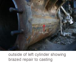 Outside of left cylinder showing brazed repair to casting