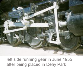Left side running gear in June 1955 after being placed in Dehy Park