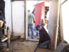 Scott, Larry, and Robbie cut tubes.