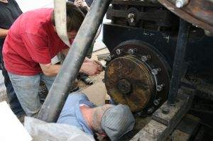 Marty and Randy getting the rings in the bore.