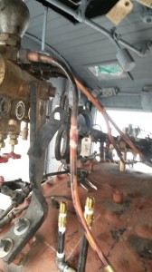 Cab plumbing with new brass lines