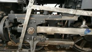 Left crosshead with main rod in place, and other linkage attached.