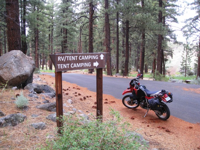 Adventure motorcycle camping in the Sierra Nevada, near Carson Valley. and Lake Tahoe.