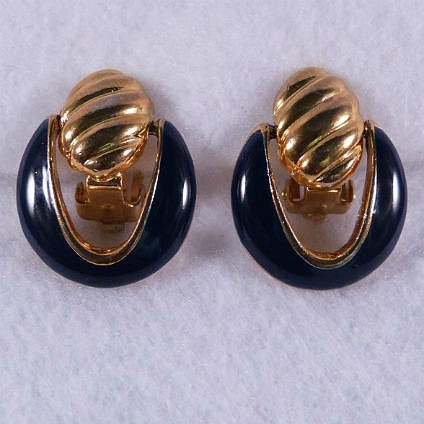 Door Knocker Navy Blue Clip Earrings
