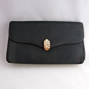 Black Faille Clutch Purse