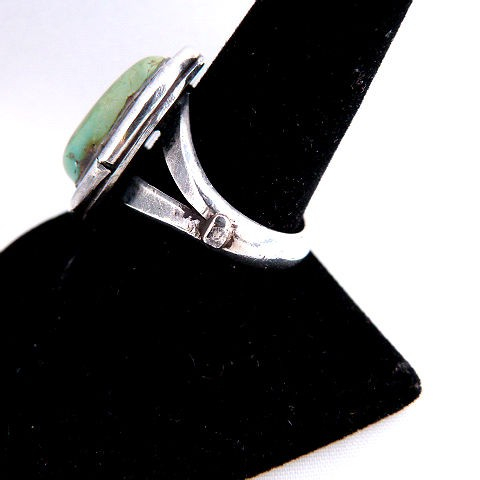 Vintage Native American Pawn Green Turquoise Oval Ring