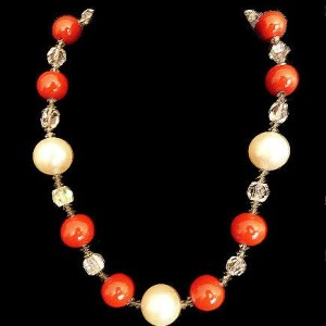 Vintage Faux Pearl, Apple Red Bead and Crystal Necklace