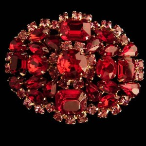 Vintage Red Pink Rhinestone Brooch Pin