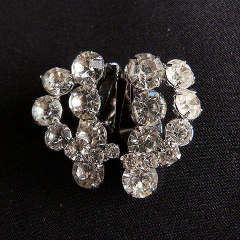 Vintage Rhinestone Clip-On Cuff Earrings