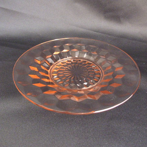 Cube Pink Bread and Butter Plate by Jeannette Glass