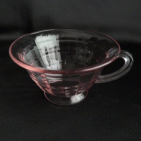 Hocking Glass Block Optic Pink Cup