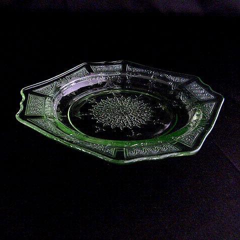 Green Depression Glass Bread Plate