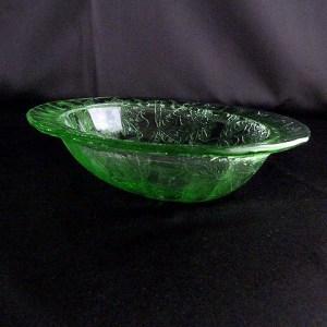 Green Depression Glass Oval Bowl