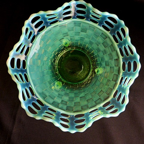 Green Opalescent Basket Weave Dish