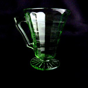 Block Optic Green Glass Creamer