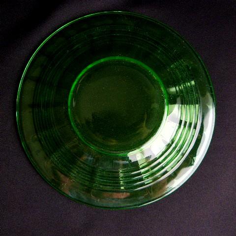 Block Optic Green Glass Sherbet Under Plate
