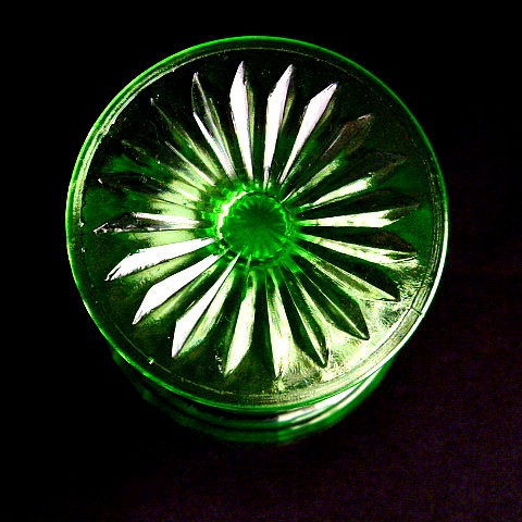 Circle Pattern Green Glass Tall Sherbet