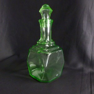 Green Uranium Glass Square Decanter