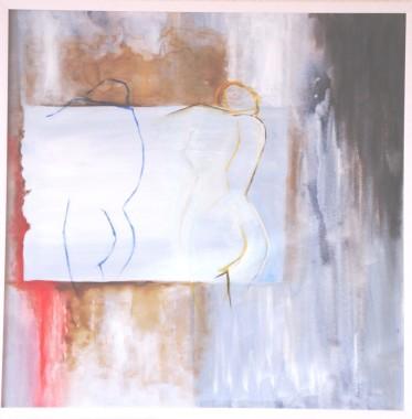 Casal perfil nu-Acílico aquarelado sb tela- 80 x 80-(2006)