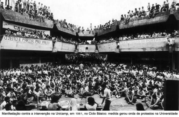 IMAGEM HISTÓRICA - Manifestação contra a intervenção na Unicamp em 1981.