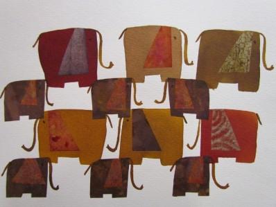 elefantes - ecoline e colagem