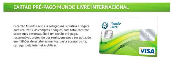 Cartão pré-pago mundo livre Internacional