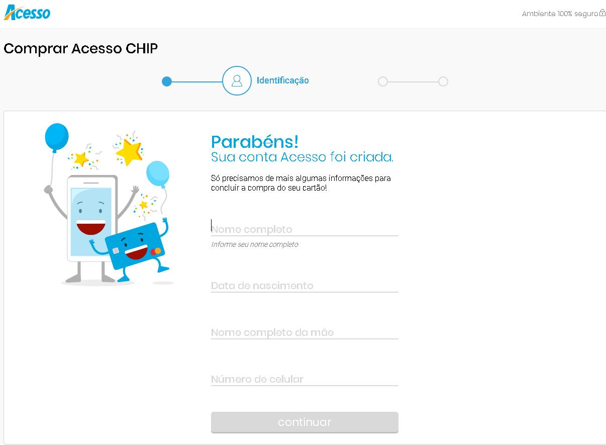 Cartão Acesso Chip dados pessoais 2