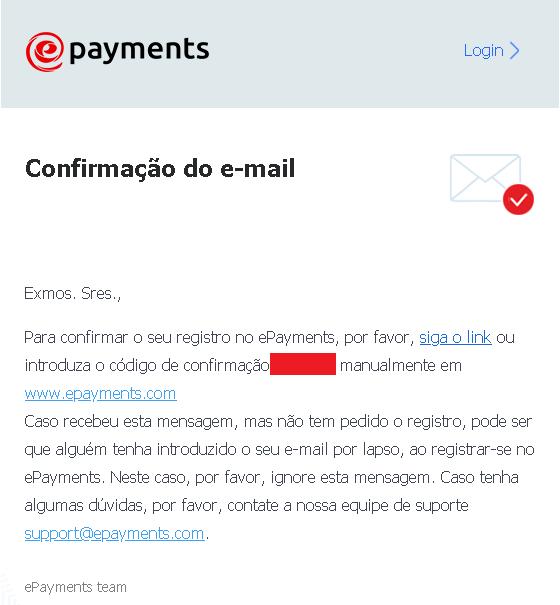 E-mail Epayments de Confirmação de conta criada