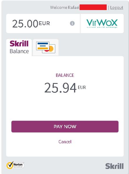 Depositar na VirWox pela Skrill em euros 3