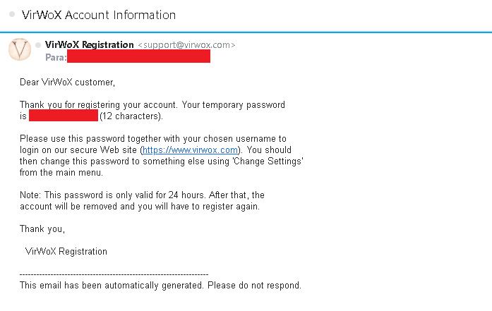 E-mail Confirmando criação da conta VirWox
