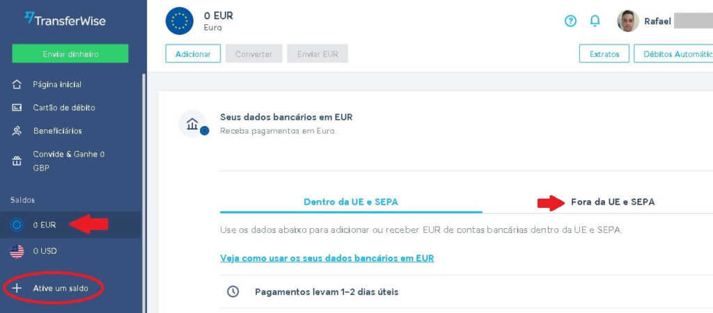 Dados bancários para receber em euros pela Transferwise.