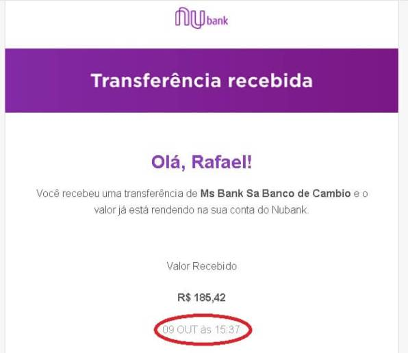 Comprovante transferência da Transferwise para Nubank.
