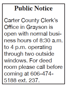 Public Notice: County Clerk office hours