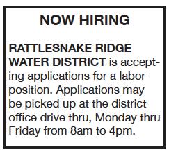 Rattlesnake Ridge Water District Now Hiring