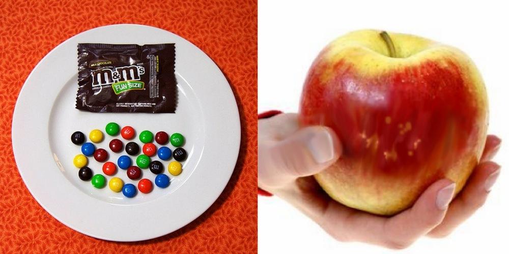 M&M's v.s. Apple - 100 calories