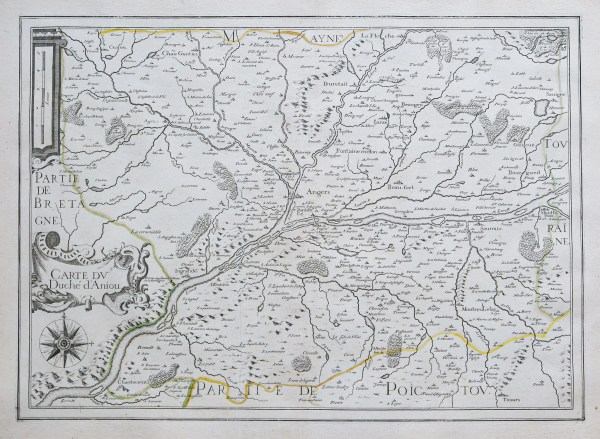 Carte géographique ancienne - carte du Duché d'Aniou - Original antique map