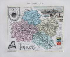 Carte géographique ancienne du département du Loiret