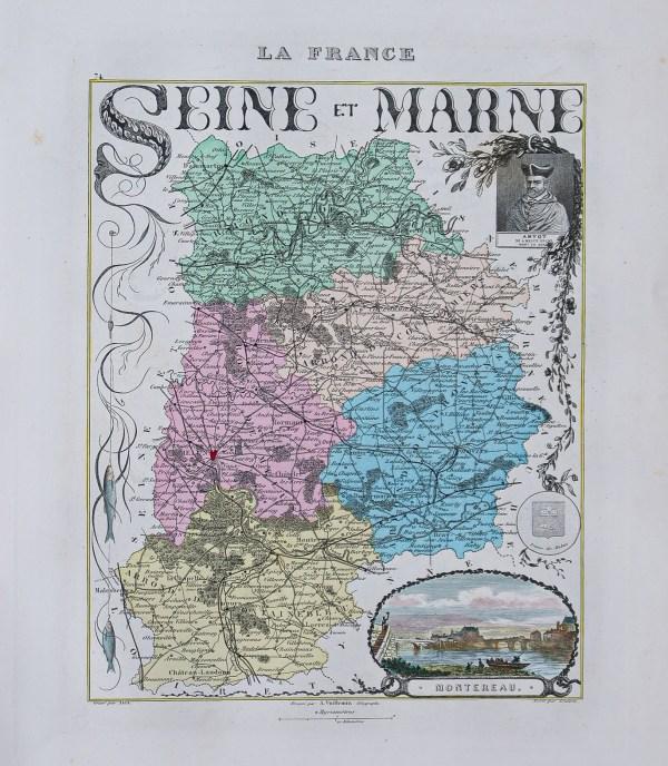 Carte géographique ancienne du département de la Seine et Marne