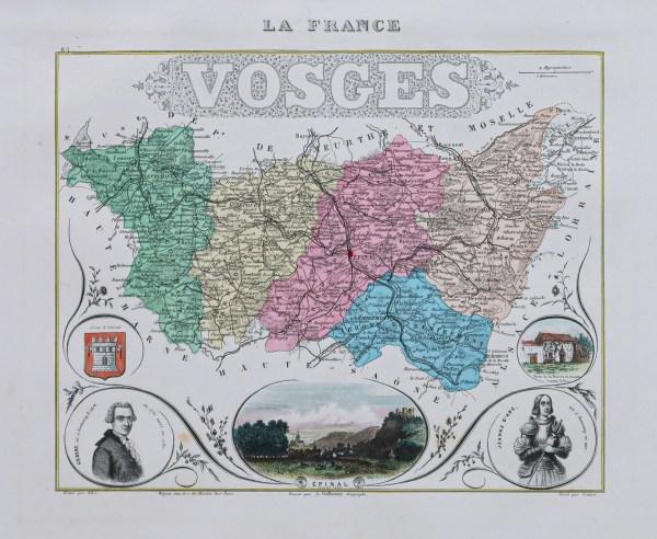 Carte géographique ancienne du département des Vosges